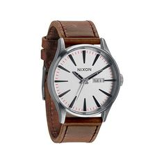 nixon watch, brown leather