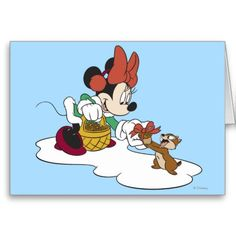 Minnie with a Chipmunk Greeting Card