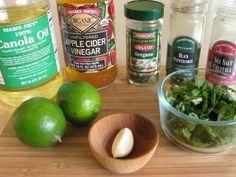 Cilantro Lime Vinaigrette:      1/2 cup of chopped cilantro     1/4 cup canola oil     1-2 tbsp fresh lime juice     1 tbsp apple cider vinegar OR red wine vinegar     Salt and pepper to taste     1 clove garlic, minced     1/2 tsp oregano