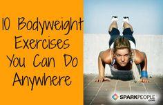 10 ejercicios sin pesas que puedes hacer en cualquier lugar | SparkPeople