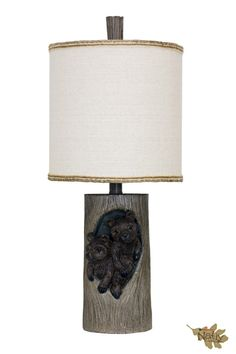 Baby Bears in a Tree Log Accent Lamp Fabric Drum Shade with Custom Trim. #shopgahs #lamp #tablelamp #lighting #livingroom #bedroom #study #den #familyroom #rustic #country #cabin