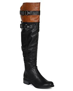 Soda BG69 Women Leatherette TwoTone Over The Knee Strap Buckle Riding Boot  Black  Tan Size 80 * Click image for more details.(This is an Amazon affiliate link)