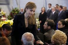 King Felipe and Queen Letizia of Spain arrives at the funeral for the 14 victims death at a bus accident this weekend at Juan Valera pavilion in Bullas, at Murcia province, Spain. 10 November 2014