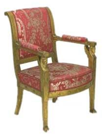 French Empire Furniture-The wreath, torch, Sphinx, Greek band, honeysuckle, Roman eagle, columns and scroll supports predominated in 1st Empire furniture. Classic shapes or lines and classic decorations in chiseled bronze, called ormolu, were notable attempts in the neoclassic style. The subjects for ormolu decorations were taken from Greek mythology and were often combined with emblems of liberty, lyres, rosettes, and so forth.