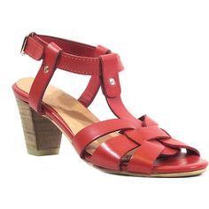 Chelsea Crew Red Britney Leather Sandal (82 BRL) ❤ liked on Polyvore featuring shoes, sandals, plus size, red mid heel sandals, mid heel sandals, leather sandals, thick heel sandals and red mid heel shoes