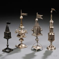 Four Silver Tower-form Spice Containers