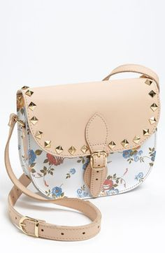 Studded Floral Crossbody Bag White Floral/ Blue