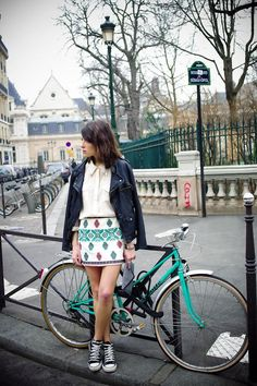 pattern skirt, jacket and polo #women #style