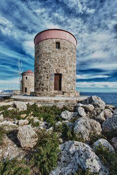 The medieval windmills at Mandraki harbor on Rhodes island