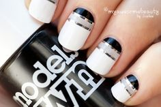 Stripe manicure black and white nails by Minty Get Nails, Fancy Nails, Love Nails, How To Do Nails, Pretty Nails, Hair And Nails, White Manicure, Manicure And Pedicure, Manicure Ideas