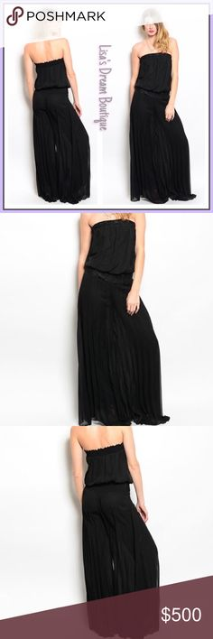 ✨COMING SOON✨ Beautiful in Black Jumpsuit 🆕Super Hot! Black Strapless Jumpsuit featuring wide flowy leg silhouette elastic embroidered waistline and embroidered hemline above the bust...100% Poly Made in USA🇺🇸✨Like this listing to be notified of arrival✨🔹NO TRADES🔹PRICE WILL BE FIRM UNLESS BUNDLED🔹💟20% OFF BUNDLES💟 LDB Pants Jumpsuits & Rompers