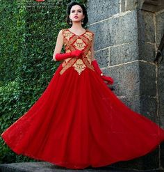 Red embroidered net semi-stitched salwar with dupatta