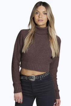 1b2b6214332bfc Boohoo Nicole Turtle Neck Crop Jumper ( 26) ❤ liked on Polyvore featuring  tops