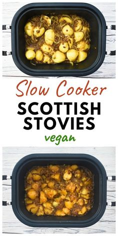 Slow Cooker Scottish Stovies (vegan recipe)- A traditional Scottish recipe for stovies, which are a tatties (potatoes) and mince stew with a delicious rich gravy. This recipe is made with veggie mince which is suitable for vegetarians and vegans. Vegan Crockpot Recipes, Vegan Dinner Recipes, Vegan Dinners, Cooker Recipes, Vegetarian Recipes, Recipes With Vegan Mince, Veggie Mince Recipes, Vegetarian Appetizers, Vegetarian Stew