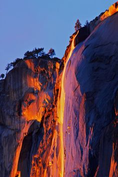 Horsetail Falls in Yosemite National Park. It takes on a gorgeous orange glow at sunset!