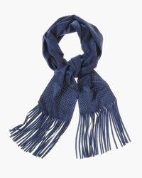 "Sammy Faux-Suede Scarf  in Twilight Blue,  A modern skinny scarf in fringed faux-suede has the festival-going vibe that makes the summer that much chicer. Perforated fabric. Dimensions: 5.5"" x 75"". Polyester, spandex. Machine wash."