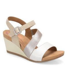 White & Silver Violet Leather Sandal