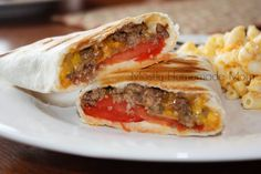 Grilled Cheeseburger Wraps from Skinny Girl recipes - tasty and quick . Food For Thought, Think Food, I Love Food, Good Food, Yummy Food, Tasty, Great Recipes, Dinner Recipes, Favorite Recipes