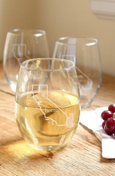 Showing off some local pride with this cute set of personalized stemless wine glasses.