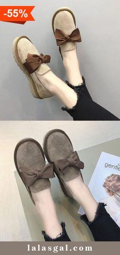 394e52dad02 Women Casual Bowknot Loafers Slip On Shoes Cola Cake