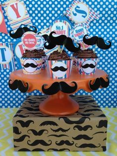 Father's Day Party Mustache Cupcakes! See more party ideas and share yours at CatchMyParty.com