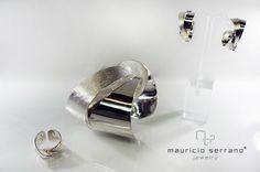 "Aretes, anillo y brazalete plata .925 ""Mauricio Serrano Jewelry"""