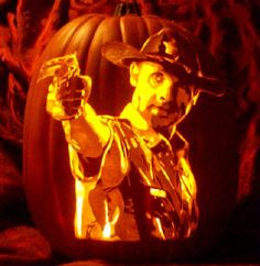 Carve of Rick Grimes from The Walking Dead by The Pumpkin Geek (www.thepumpkingeek.com). Another amazing carve!