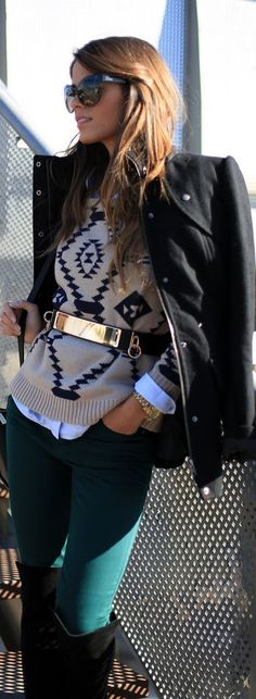 leather jacket over pattern sweater with embellished belt and pants tucked in boots | black beige gold dark green | casual stylish autumn winter