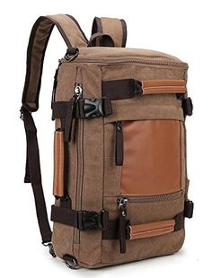 27934b9e41 Weekend Shopper canvas Camping Rucksack Vintage Backpack for Men and Women  to Travel Hiking Brown
