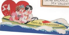 Set of 2 Vintage Valentines 1930s. Kids in Speedboat, and Accountant kid with balance sheet. 1930s collectible greeting cards ephemera by PickleladyPapers on Etsy