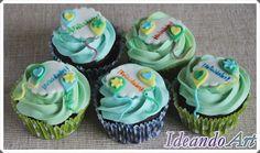 Cupcakes de chocolate y de mocca con buttercream de crema de naranja decorados con fondant by IdeandoArt