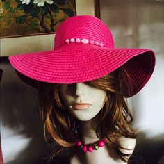 """Hot Pink Floppy Wide Brim Hat w Lilac Beads This is a bold and beautiful Hot Pink Floppy Wide Brim Hat that has a matching tie band that is macramé w/lilac purple beads. Inside lined in a hot pink grosgrain ribbon & Circumference Approx. 22""""; Brim: 4""""; Crown Height: 5-1/2"""". A quality hat that is wonderful preowned condition. Smoke-free home. Please know your head circumference measurement before ordering. The mannequin is a display model only and not reflective of how a hat will fit or look…"""