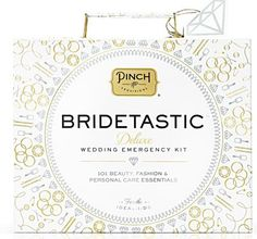 Behold the Bridetastic, the new Deluxe Wedding Emergency Kit by Pinch Provisions. This gorgeously giftable, silver & gold embossed presentation box opens to reveal a premium plantium tote brimming with 101 wedding day esssentials. The Bridetastic's 101 must-haves are neatly organized into four removable compartments: beauty, fashion, personal care, and bridal. http://rstyle.me/~1qA7Z