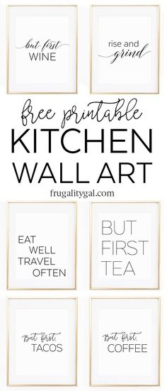 Kitchen Gallery Wall Printables | Free Printable Wall Art | Apartment Kitchen Decor Ideas | Free Printable Kitchen Art | Free Kitchen Printables Black and White