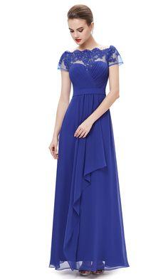 Women's Boat Neck Royal Blue Lacy Long Evening Dress