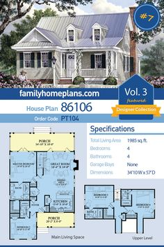 Cape Cod, Cottage, Country, Southern House Plan 86106 with 4 Beds, 4 Baths Cottage Style House Plans, Cottage Floor Plans, Southern House Plans, Family House Plans, Dream House Plans, Small House Plans, Bedroom House Plans, Cottage Homes, House Floor Plans