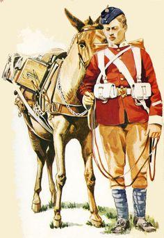 BRITISH ARMY - East Lancashire 30 & 59th- Private & Ammunition Mule - 1897 Great British, British Army, Army History, British Uniforms, Military Uniforms, British Colonial, Warfare, 21st Century, Ephemera
