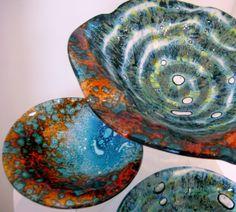 """Phosphorous"" and ""Aqua Coral"" shell form bowls"