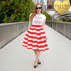 Red Stripe Pleated Midi Skirt - t+j Designs