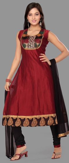 #Maroon Readymade #Chanderi Churidar Kameez