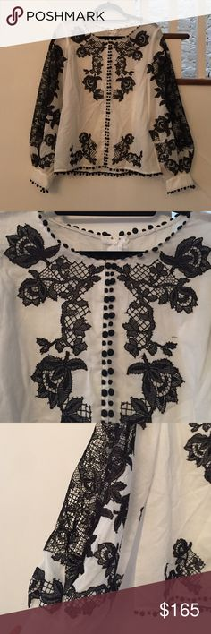 Calypso St. Barth white and black lace top Gorgeous never been worn white cotton blouse with black lace detail. Calypso St. Barth Tops Blouses