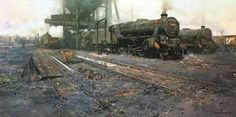 Wildlife and railway artist David Shepherd. A Britsh contemporary oil painter who has received worldwide acclaimation for his African wildlife and steam locomotive paintings. Industrial Artwork, Steam Railway, Train Art, British Rail, Train Engines, Steam Engine, Africa Travel, Art Gallery, David