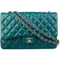 Pre-Owned Chanel Turquoise Lambskin Jumbo Flap Bag with Silver... (€4.375) ❤ liked on Polyvore featuring bags, handbags, turqoise, multicolor handbags, pre owned handbags, colorful purses, multi colored purses and chanel bags