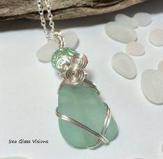 Sea Glass Pendant Aqua Beach Glass Sea Glass by SeaGlassVisions