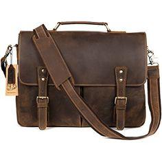 Kattee Mens Real Leather Laptop Briefcase Bag Satchel Shoulder Messenger Bags