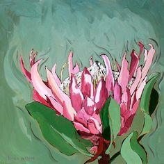 Tile: Giant Protea Medium: Oil paint on canvas Size: x Floral Paintings, Oil Paintings, Canvas Size, Canvas Art, Protea Art, Calla Lily, Watercolours, Trees To Plant, Printable Art