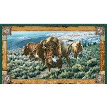 Where The Buffalo Roam Bison Quilting Fabric Panel - Multi