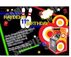 Bowling and laser tag invitation