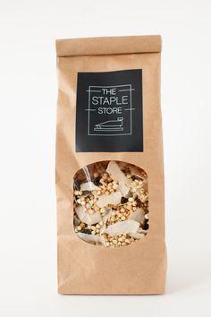 The staple store's gluten free muesli - packaging branding identity ta Popcorn Packaging, Cereal Packaging, Spices Packaging, Bakery Packaging, Cookie Packaging, Tea Packaging, Food Packaging Design, Brand Packaging, Granola