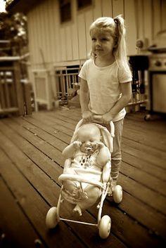 "Fun Sibling photo idea! The ""real life"" baby doll!"